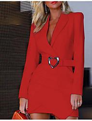 cheap -Women's Mini Sheath Dress - Long Sleeve Solid Colored Shirt Collar Slim White Black Red S M L XL