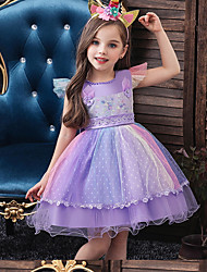 cheap -Toddler Little Girls' Dress Rainbow Flower Party Layered Tulle Lace White Blue Purple Princess Dresses