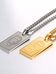 cheap -Men's Pendant Necklace Necklace Charm Necklace Face Simple Classic Fashion Stainless Steel Gold Silver 55 cm Necklace Jewelry 1pc For Daily