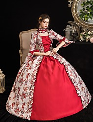 cheap -Maria Antonietta Rococo Baroque Victorian Dress Party Costume Masquerade Women's Satin Costume Red Vintage Cosplay Party Halloween Party & Evening Floor Length Ball Gown Plus Size