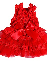 cheap -Dogs Dress Dog Clothes Red Pink Costume Polyster Solid Colored Wedding XS S M L XL
