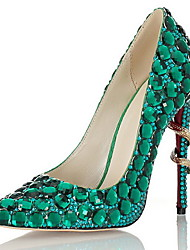 cheap -Women's Heels Stiletto Heel Pointed Toe Rhinestone Leather Summer Green