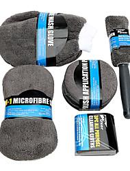 Недорогие -9 шт. / Компл. Авто уход мойка очистки инструмента с микрофибры полотенца аппликатор колодки мыть губкой мыть перчатку щетка колеса