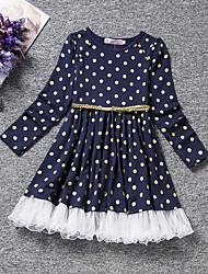 cheap -Kids Toddler Girls' Active Sweet Polka Dot Long Sleeve Knee-length Dress Blue