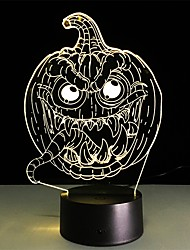 cheap -Halloween Scary Pumpkin 3D Night Light 7 Colors Optical Illusion LED Bedside Table Lamp for Kids Room Birthday Gifts