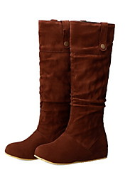 cheap -Women's Boots Knee High Boots Flat Heel Round Toe Suede Knee High Boots Summer Black / Brown