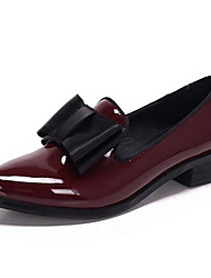 cheap -Women's Loafers & Slip-Ons Low Heel Round Toe PU Fall & Winter Black / Burgundy / Daily