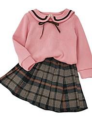 cheap -Kids Girls' Basic Plaid Long Sleeve Clothing Set Blushing Pink