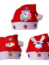 cheap -3pcs LED Adult Children Xmas Red Caps Santa Novelty Hat for Christmas Party Christmas Party Chapeau Hat