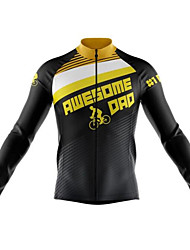 cheap -21Grams Men's Long Sleeve Cycling Jersey Winter Fleece 100% Polyester Black / Yellow Bike Jersey Top Mountain Bike MTB Road Bike Cycling Thermal / Warm UV Resistant Breathable Sports Clothing Apparel