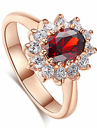 cheap -Women's Ring AAA Cubic Zirconia 1pc Rose Gold Red Green Platinum Plated Alloy Stylish Daily Jewelry Cute