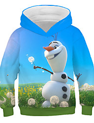 cheap -Kids Girls' Active Street chic Snowman Print Print Long Sleeve Hoodie & Sweatshirt Blue