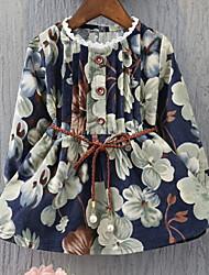 cheap -Toddler Girls' Active Floral Print Long Sleeve Knee-length Dress Blue