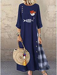 cheap -Women's Dress Basic Shift Dress - Maxi Geometric Print Red Green Navy Blue L XL XXL XXXL
