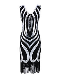cheap -The Great Gatsby Vintage 1920s Flapper Dress Dress Party Costume Women's Sequin Costume Black / Golden / Red Vintage Cosplay Party Sleeveless