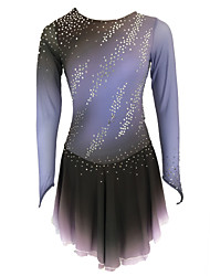 cheap -21Grams Figure Skating Dress Women's Girls' Ice Skating Dress Grey Open Back Spandex Stretch Yarn High Elasticity Training Skating Wear Solid Colored Classic Crystal / Rhinestone Long Sleeve Ice
