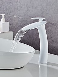 cheap -Brass Table Type Faucet Set,White Waterfall Painted Finishes Centerset Single Handle One Hole Bath Taps with Hot and Cold Water
