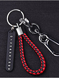 cheap -Car key ring pendant anti-lost phone number card woven rope key chain men and women personality creative