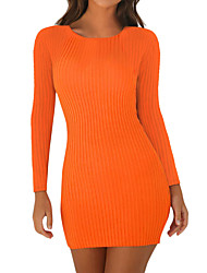 cheap -Women's Daily Street chic Sheath Dress - Solid Colored Black Orange Red S M L XL