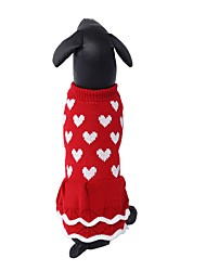 cheap -Dog Sweater Dress Puppy Clothes Love Dresses&Skirts Sweet Dog Clothes Puppy Clothes Dog Outfits Red Costume for Girl and Boy Dog Acrylic Fibers XS S M L XL XXL