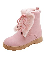 cheap -Women's Boots Flat Heel Round Toe Stitching Lace / Pom-pom Faux Leather Booties / Ankle Boots Casual / Sweet Running Shoes / Walking Shoes Spring &  Fall / Fall & Winter Black / Pink / Khaki