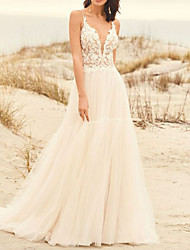 cheap -A-Line V Neck Sweep / Brush Train Lace / Tulle Spaghetti Strap Made-To-Measure Wedding Dresses with Appliques 2020
