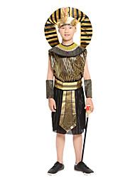 cheap -Egyptian Costume Cosplay Costume Outfits Kid's Boys' Cosplay Halloween Halloween Festival / Holiday Polyster Black Carnival Costumes / Leotard / Onesie / Belt / Headwear / Neckwear / Wrist Brace