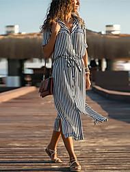 cheap -Women's Swing Dress - Color Block Black S M L XL
