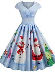 cheap -Women's Blue Dress Basic Vintage Christmas Party Festival Swing Geometric Snowflake V Neck Santa Claus Print S M