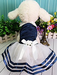 cheap -Dogs Outfits Dress Winter Dog Clothes Blue Pink Costume Polyster Color Block Wedding XS S M L XL