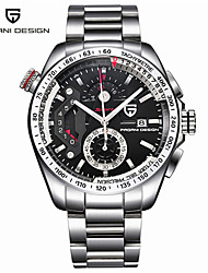 cheap -Men's Steel Band Watches Japanese Japanese Quartz Stylish Stainless Steel Silver 30 m Calendar / date / day Analog Casual - Black Silver Two Years Battery Life