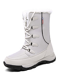cheap -Women's Boots Snow Boots Flat Heel Round Toe Leather / Canvas Mid-Calf Boots Winter Black / Gray