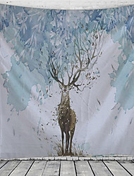 cheap -Chinese Ink Painting Style Wall Tapestry Art Decor Blanket Curtain Hanging Home Bedroom Living Room Decoration Abstract Animal Deer