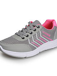 cheap -Women's Athletic Shoes Flat Heel Round Toe Mesh / PU Sporty Running Shoes Fall Black / Red / Gray / Color Block