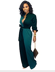 cheap -Women's Black Army Green Jumpsuit, Color Block Print / Drawstring S M L