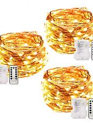 abordables -3pcs fées lumières batterie exploité étanche 12m 120 led cordes lumières arbre de noël lumière chaude blanc blanc multicolore mariage décoration extérieure avec télécommande