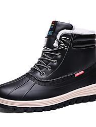 cheap -Men's Comfort Shoes PU Winter Casual Boots Warm Black / Brown