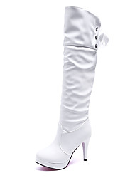 cheap -Women's Boots Stiletto Heel Round Toe Faux Leather / PU Spring / Fall & Winter Black / White