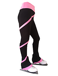 cheap -21Grams Figure Skating Pants Women's Girls' Ice Skating Tights Bottoms Purple Yellow Pink Open Back Spandex Stretch Yarn High Elasticity Training Skating Wear Solid Colored Multi Color Classic Long