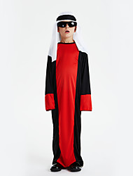 cheap -Arabian Cosplay Costume Outfits Masquerade Kid's Boys' Cosplay Halloween Halloween Festival / Holiday Polyster Red Carnival Costumes / Leotard / Onesie / Headwear