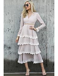 cheap -Women's Beige Dress A Line Solid Colored V Neck Lace S M
