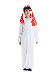cheap -Arabian Cosplay Costume Outfits Masquerade Kid's Boys' Cosplay Halloween Halloween Festival / Holiday Polyster White Carnival Costumes / Leotard / Onesie / Headwear