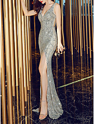 cheap -Mermaid / Trumpet Plunging Neck Sweep / Brush Train Sequined Elegant & Luxurious / Open Back Formal Evening Dress 2020 with Sequin / Crystals / Split Front