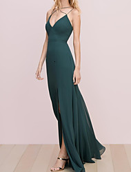 cheap -A-Line Spaghetti Strap Floor Length Chiffon Bridesmaid Dress with Split Front / Pleats / Open Back
