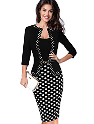 cheap -Women's Red Green Dress Basic Elegant Formal Work Shift Sheath Polka Dot Square Neck Patchwork S M / Cotton