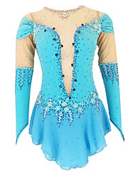 cheap -21Grams Figure Skating Dress Women's Girls' Ice Skating Dress Blue Open Back Spandex Stretch Yarn High Elasticity Training Skating Wear Solid Colored Classic Crystal / Rhinestone Short Sleeve Ice