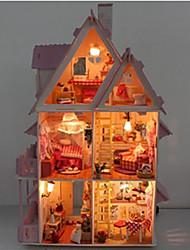 abordables -bricolage miniature en bois chocolat maison de poupée villa avec des jouets de lumière LED