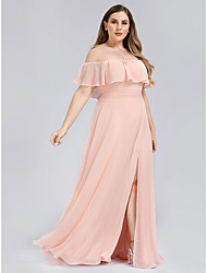 cheap -A-Line Off Shoulder Floor Length Polyester Bridesmaid Dress with Ruffles / Split Front