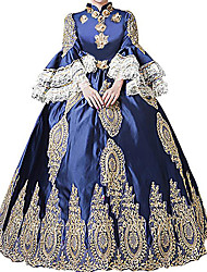 cheap -Queen Princess Rococo Baroque Victorian 18th Century Ball Gown Dress Masquerade Costume Women's Costume Blue Vintage Cosplay Party Prom Long Sleeve Floor Length