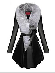 Недорогие -Жен. Повседневные / Офис Уличный стиль / Изысканный Наступила зима Большие размеры Длинная Искусственное меховое пальто, Однотонный Отложной Длинный рукав Искусственный мех Меховая оторочка Черный
